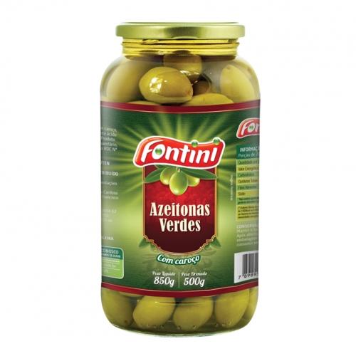 Azeitona Verde com Caroço Fontini Vidro  - 12 uni. de 500 grs