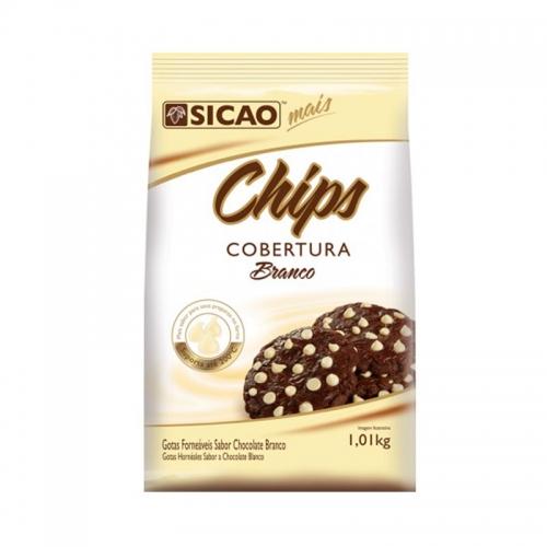 GOTAS DE CHOCOLATE BRANCO CHIPS SICAO 1,01 KG