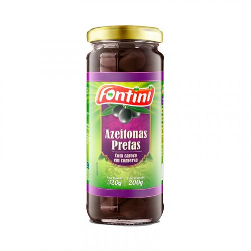 AZEITONA VIDRO PRETA C/CAROCO 12/200 G