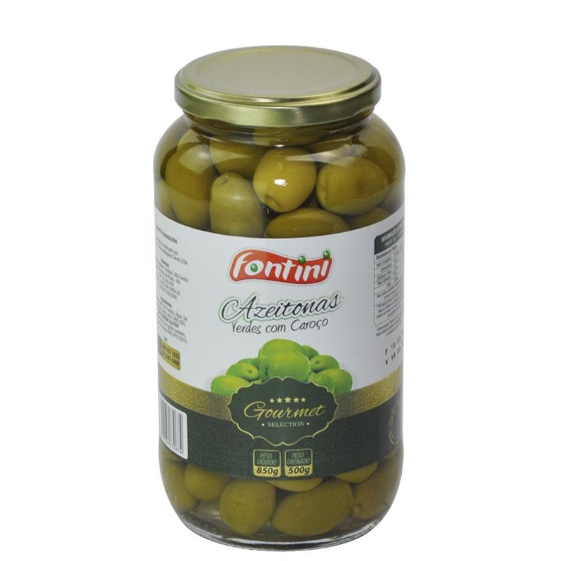Azeitona Gourmet Verde com Caroço Fontini Vidro - 12 uni. de 500 grs