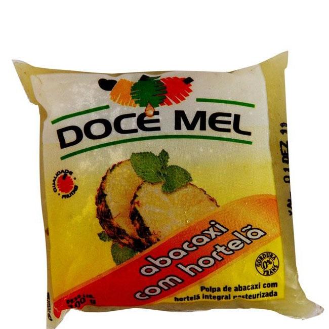 Polpa de Fruta Doce Mel Abacaxi/Hortelã - Pacote de 10 uni. de 100g