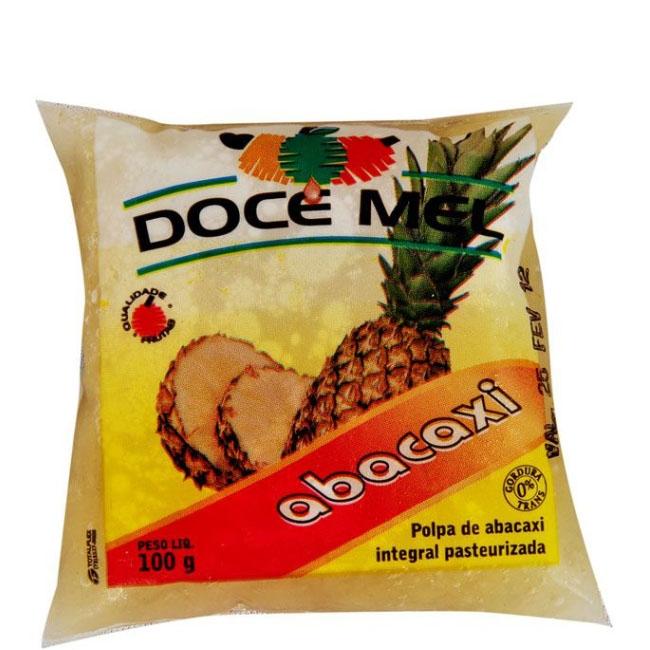 Polpa de Fruta Doce Mel Abacaxi - Pacote de 10 uni. de 100grs