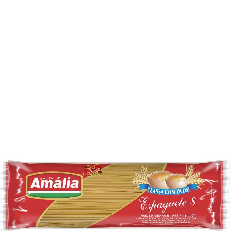 Macarrão c/ Ovos Espaguete N8 Santa Amália - Fardo 30 uni. de 500grs