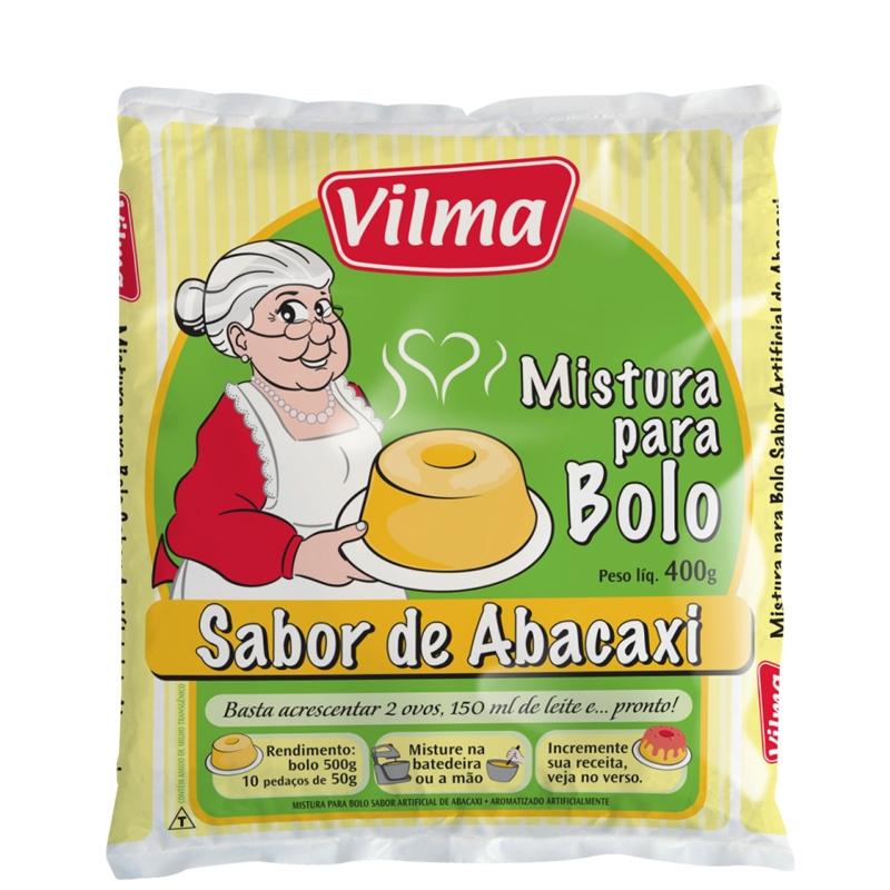 Mistura para Bolo Vilma Sabor Abacaxi - Fardo 12 uni. de 400grs