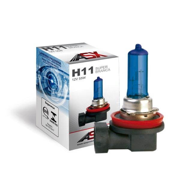 LÂMPADA H11 SUPER BRANCA 55W 12V | ASX Produtos