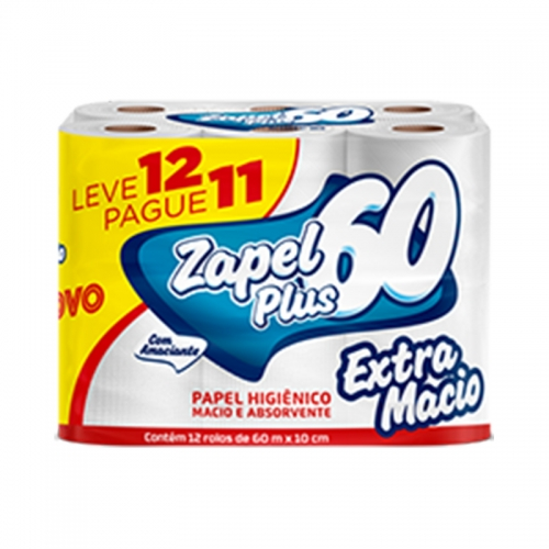 Papel Higiênico Zapel - 12 und. de 60 metros