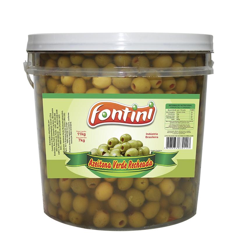 Azeitona Verde Recheada Fontini 7 Kg