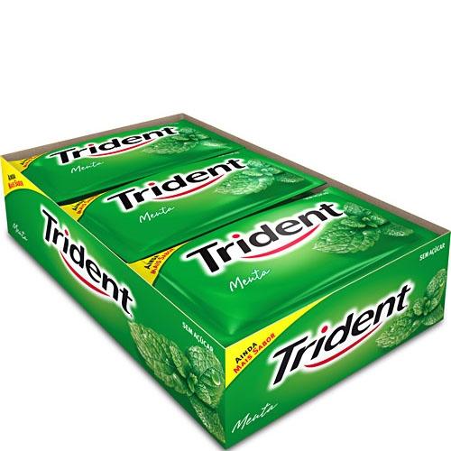Chicle Trident Menta Caixa com 21 unidades de 40grs.