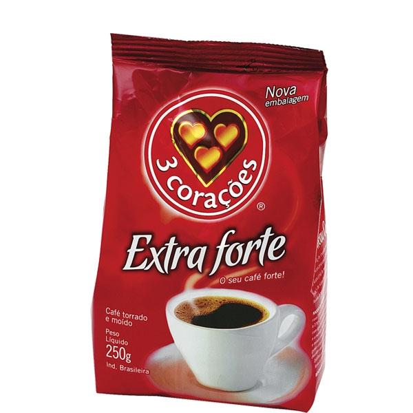 Café 3 Corações Extra Forte - 20 uni. de 250grs