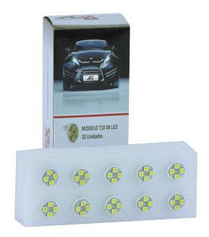 T10 4 LEDS BRANCO 12V e 24V | ASX Produtos