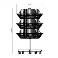 Expositor Giratório 3 Cestos Grandes | Zinco & Arte